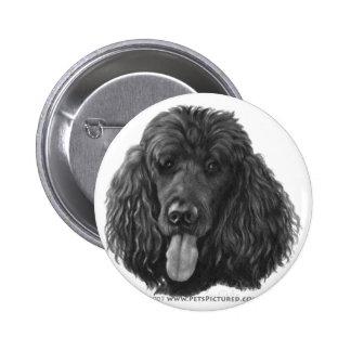 Shadow, Black Standard Poodle 6 Cm Round Badge