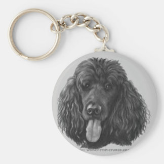 Shadow, Black Standard Poodle Key Ring
