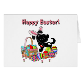 Shadow has Easter Bunny Ears Greeting Card
