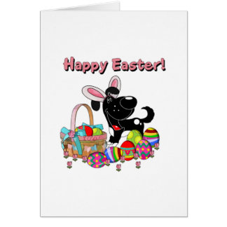 Shadow has Easter Bunny Ears Greeting Card