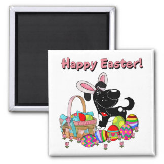 Shadow has Easter Bunny Ears Square Magnet