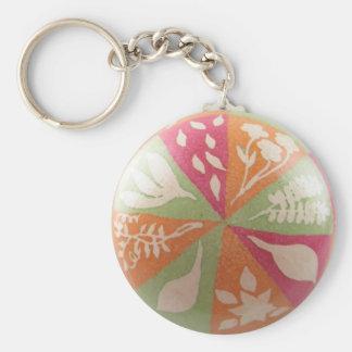 Shadow Leaf Pysanka Keychain