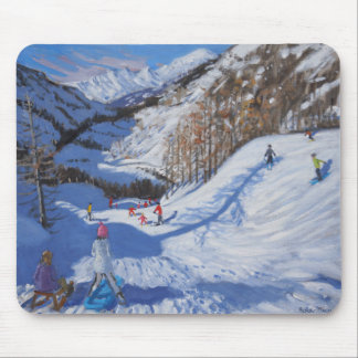 Shadow of a fir tree and skiers Tignes.2014 Mouse Mat