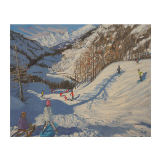 Shadow of a fir tree and skiers Tignes.2014 Wood Print