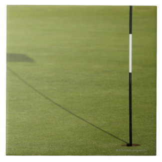 shadow of golf flag on golf course green tile