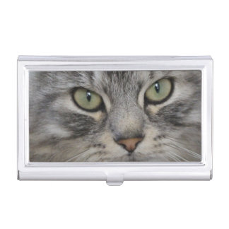Shadow Silver Persian Cat Business Card Holder