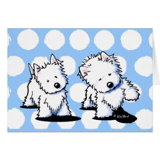 Shadowboxing Westies Greeting Cards