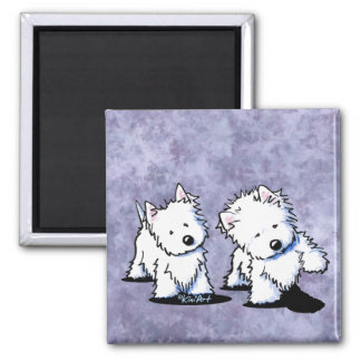Shadowboxing Westies Square Magnet