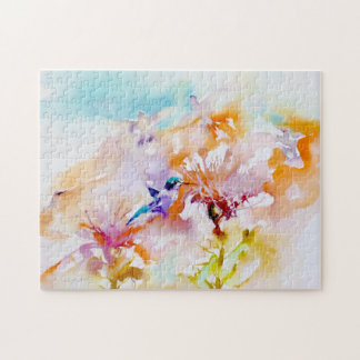 """Shadows in Pastels"" Hummingbird Print Jigsaw Puzzle"