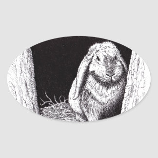 shadowy rabbit animal drawing oval stickers