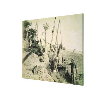 Shadufs in Upper Egypt (sepia photo) Canvas Print
