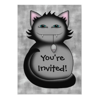 Shady kitty cat birthday party 13 cm x 18 cm invitation card