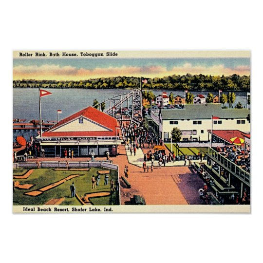 Shafer Lake, Indiana Ideal Beach Resort Poster