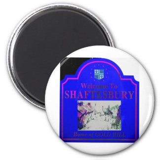 Shaftesbury Blue Pink Refrigerator Magnet