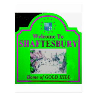 Shaftesbury Green Pink Postcard