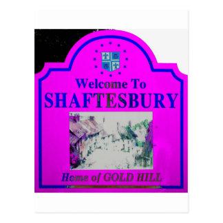 Shaftesbury Pink Blue Postcard