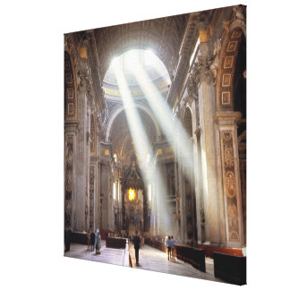 Shafts of sunlight pour through the windows canvas print