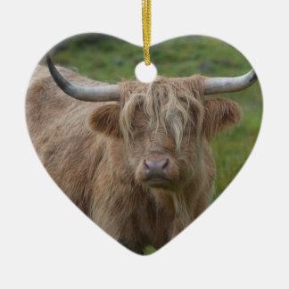 Shaggy Blonde Highland Cow Ceramic Heart Decoration