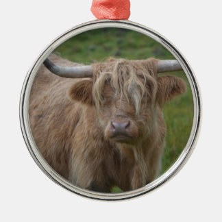 Shaggy Blonde Highland Cow Round Metal Christmas Ornament