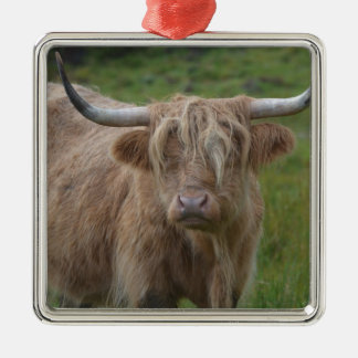 Shaggy Blonde Highland Cow Square Metal Christmas Ornament