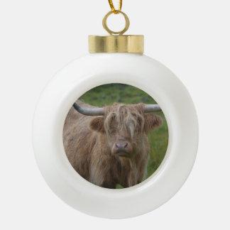 Shaggy Blonde Highland Cow Ornament