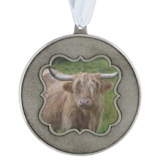 Shaggy Blonde Highland Cow Scalloped Pewter Ornament