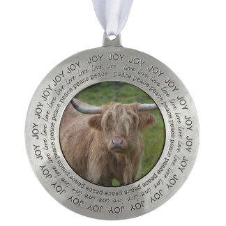 Shaggy Blonde Highland Cow Round Pewter Christmas Ornament
