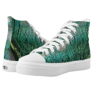 Shaggy Green Peacock Feathers High Tops