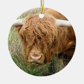 Shaggy Highland Cow Double-Sided Ceramic Round Christmas Ornament
