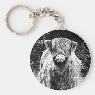 Shaggy Highland Cow Photo (Black & White) Basic Round Button Key Ring