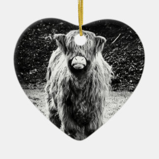 Shaggy Highland Cow Photo (Black & White) Ceramic Heart Decoration