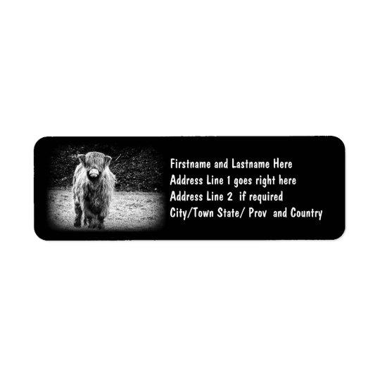 Shaggy Highland Cow Photo (Black & White) Return Address Label