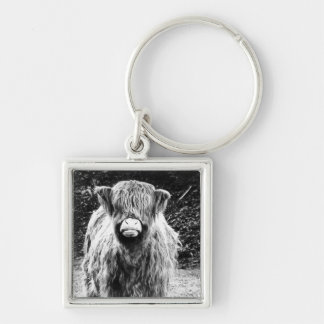 Shaggy Highland Cow Photo (Black & White) Silver-Colored Square Key Ring