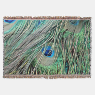 Shaggy Peacock Eye Feathers Throw Blanket