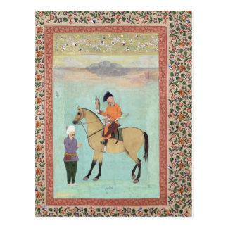 Shah Abbas  on a horse holding a falcon Postcard