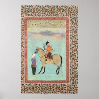 Shah Abbas  on a horse holding a falcon Poster