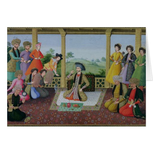 Shah Suleyman II  and his courtiers Card