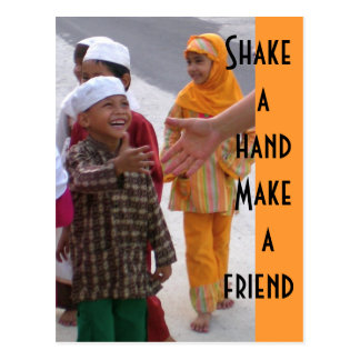 Shake a hand  Make a friend Postcard