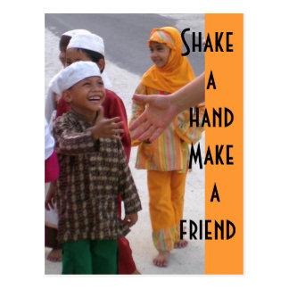 Shake a hand  Make a friend Postcard
