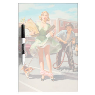 Shake down funny retro pinup girl dry erase board