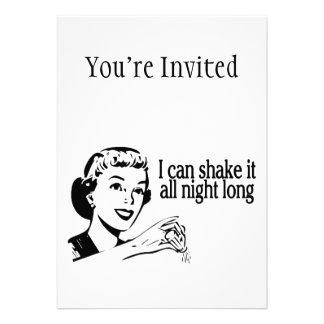 Shake It All Night Long Retro Custom Invitations