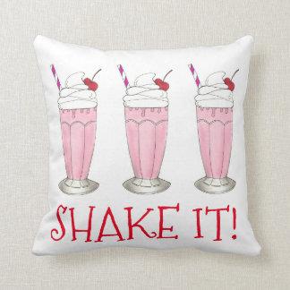 Shake It! Pink Strawberry Ice Cream Shop Milkshake Cushion