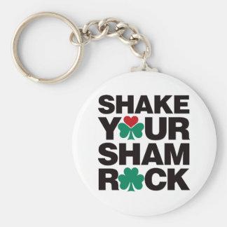 Shake Your Shamrock - Black Basic Round Button Key Ring