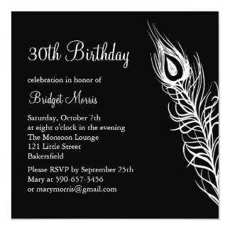 Shake Your Tail Feathers Birthday Invite (black)