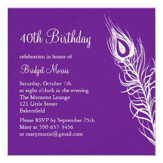 Shake Your Tail Feathers Birthday Invite purple