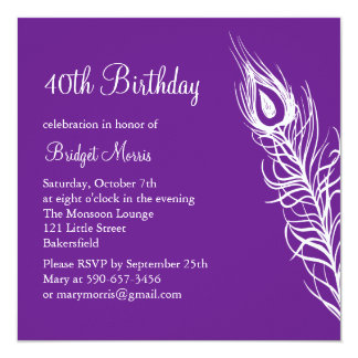 Shake Your Tail Feathers Birthday Invite (purple)