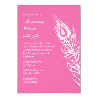 Shake your Tail Feathers Bridal Shower (pink) 13 Cm X 18 Cm Invitation Card