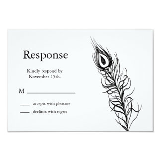 Shake your Tail Feathers RSVP (white) 9 Cm X 13 Cm Invitation Card