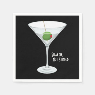 Shaken Not Stirred Vodka Martini Cocktail Drink Disposable Napkin