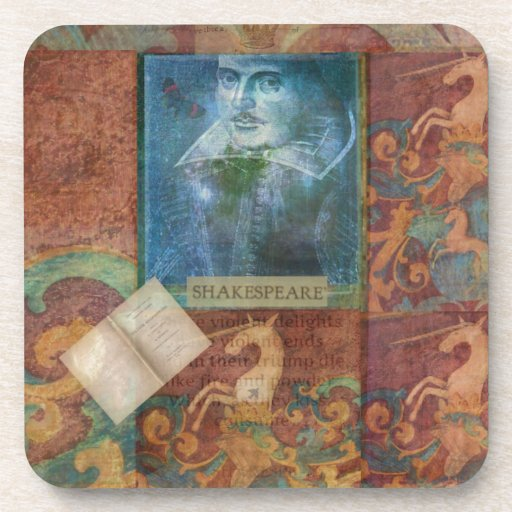 Shakespeare art customize with favorite quotation drink coasters